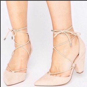 Asos Sinead Wide Fit Lace Up Heels Size UK 8 US 10